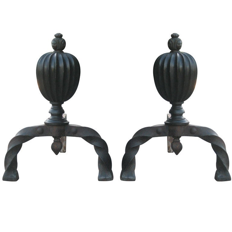 Bronze and Hand-Forged Iron Andirons For Sale