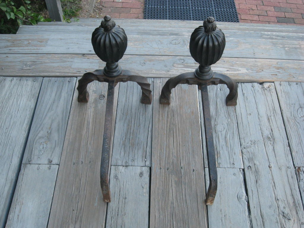 Bronze and Hand-Forged Iron Andirons In Excellent Condition For Sale In Water Mill, NY