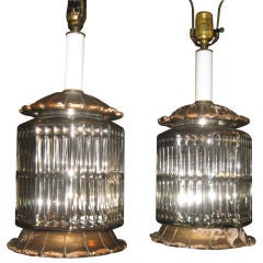 Midcentury Pair of Vintage Mercury Glass Lamps