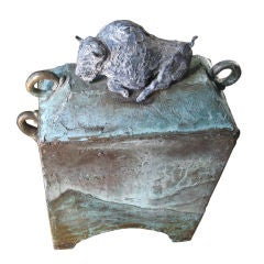 """28"""" Bronze Covered Box with Buffalo, Signed"""