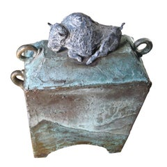 "28"" Bronze Covered Box with Buffalo, Signed"