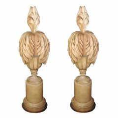 Art Modern Pair of Carved Wood and Gilt Table Lamps