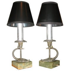 Pair of Silvered Bronze Serpent Boudoir Lamps