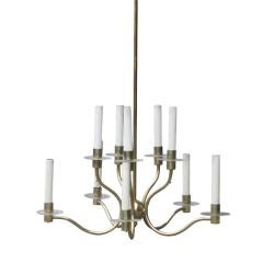 Midcentury Brass and Lucite Chandelier