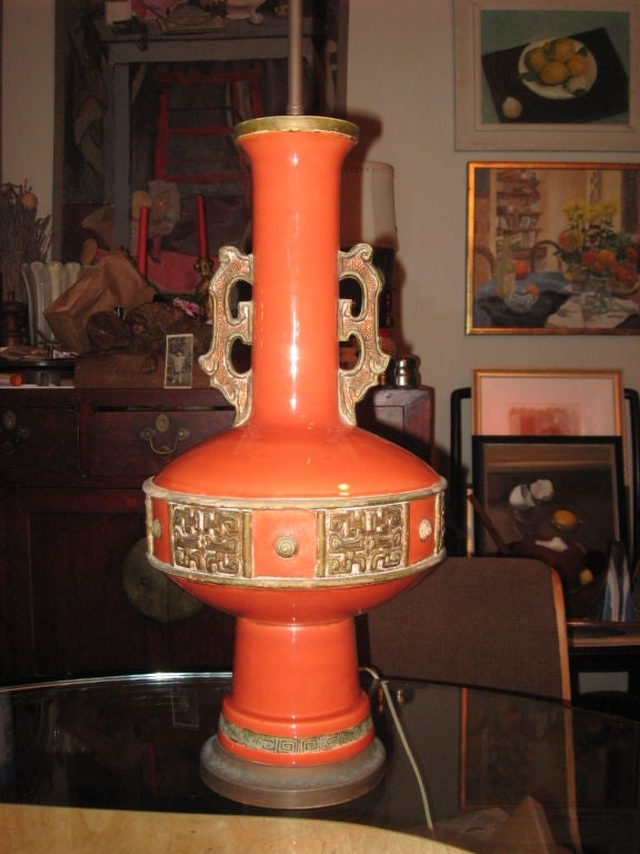 Large Pottery Lamp in the Style of James Mont 2