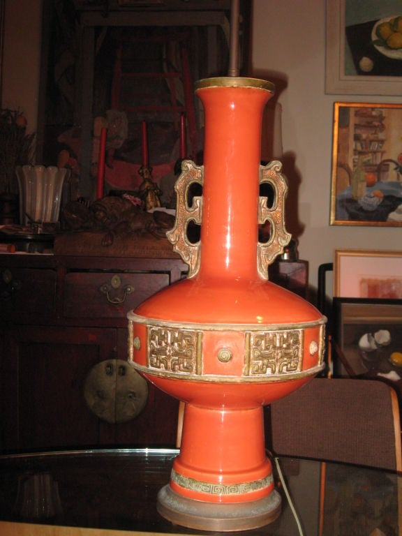 Large Pottery Lamp in the Style of James Mont 4