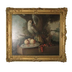 18thc  Still Life with Parrot Oil Painting