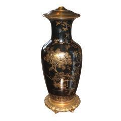 Oriental Black Gilt Painted Lamp