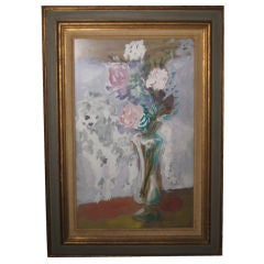 Marcel Vertes Poodle with Flowers Painting