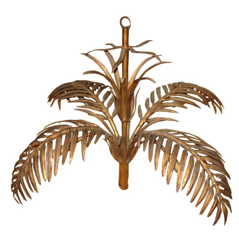 Midcentury Gilded Tin Palm Tree Chandelier