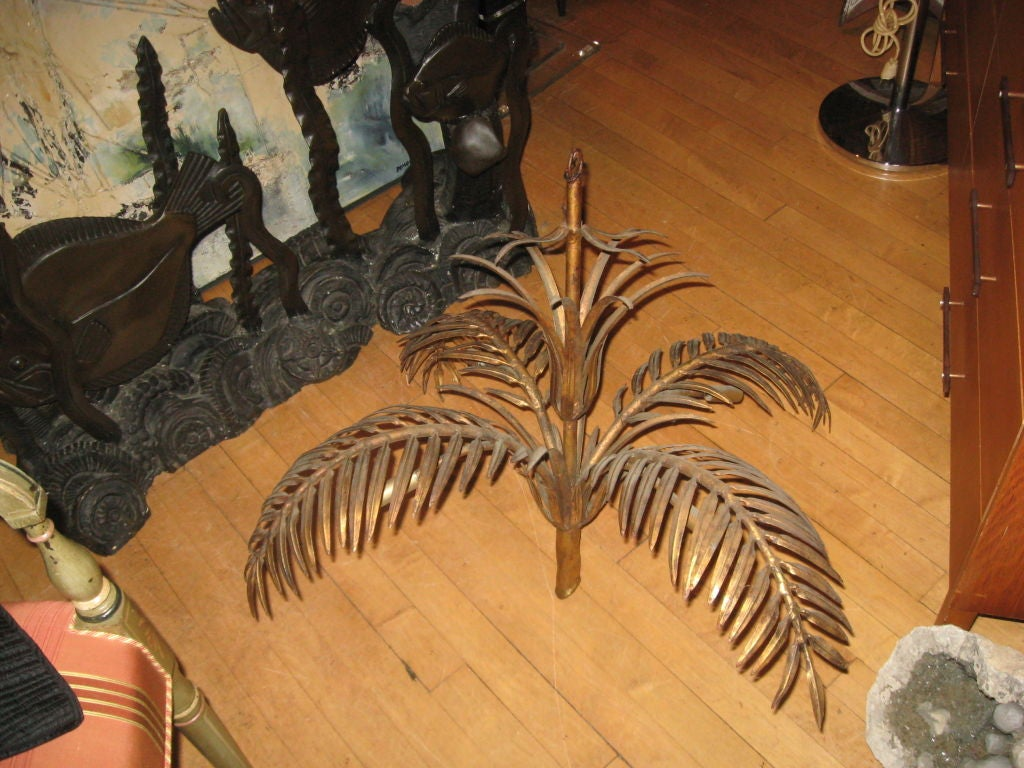 Midcentury Gilded Tin Palm Tree Chandelier-Can Take Crystal Drops at the End of the Leaf on Both Sides