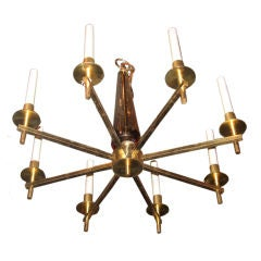 Midcentury Brass and Crystal Chandelier by Orrefors