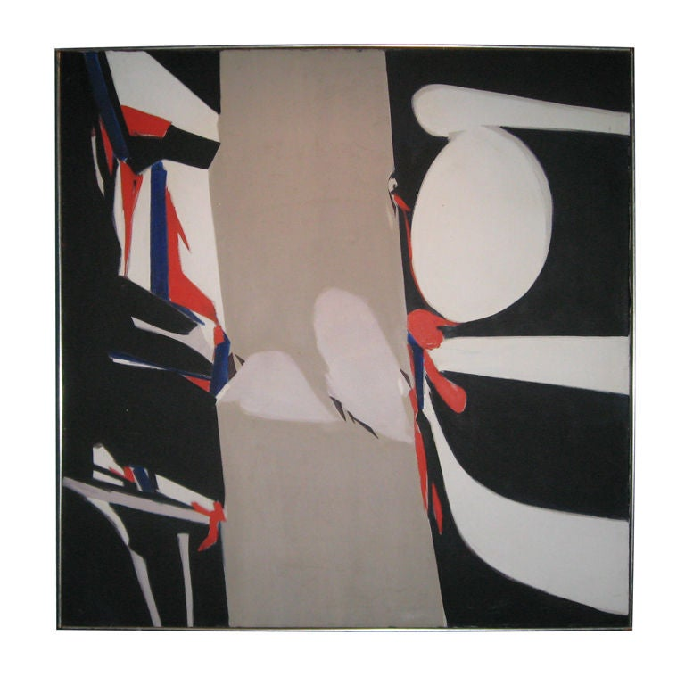 """49"""" Midcentury Abstract Oil Painting For Sale"""