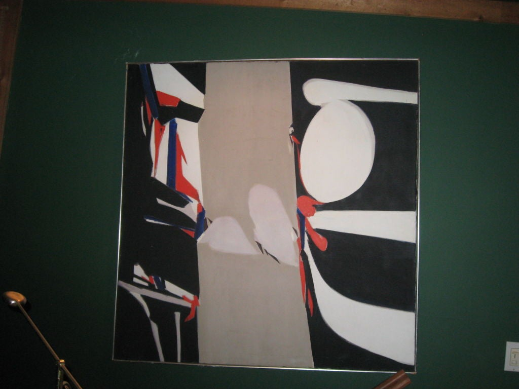 Midcentury abstract oil painting, framed.