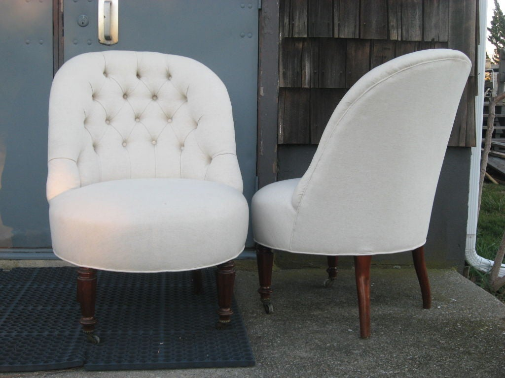 tufted slipper chair for sale at stdibs - tufted slipper chair