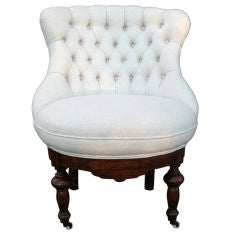 Napoleon III Tufted Bergere/Slipper Chair