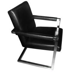 Ralph Lauren Leather and Chrome Armchair