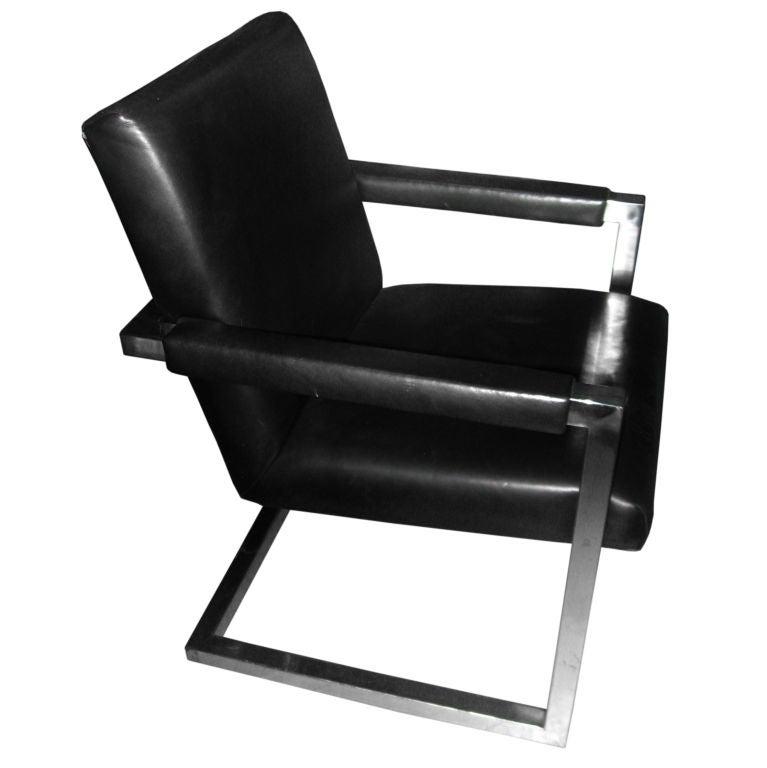 Ralph Lauren Leather and Chrome Armchair