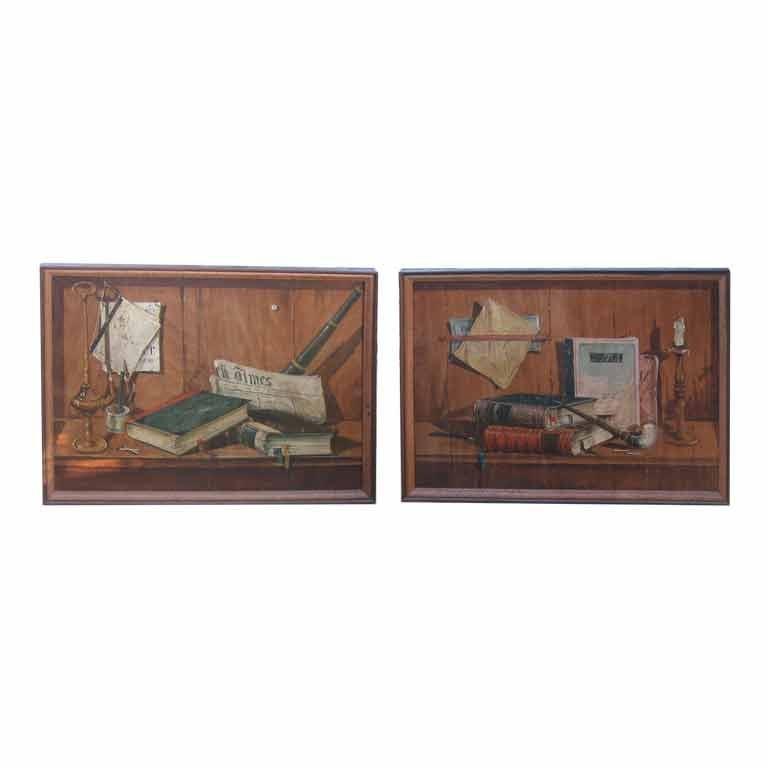 Pair of Trompe L'oeil Paintings on Wood