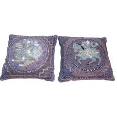 Pr. of Vintage  Elaborate Embroidered Indian Pillows