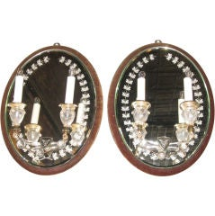 Pair of 19th Century Etched Mirrored Sconces