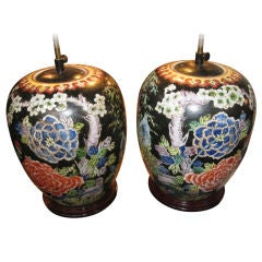 Pair Of Oriental Ginger Jars Made Into Lamps