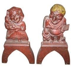 Pair of Early Punch and Judy Iron Andirons