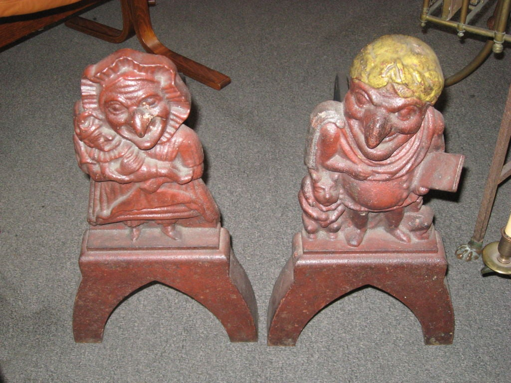 Pair of Early Punch and Judy Iron Andirons In Good Condition For Sale In Water Mill, NY