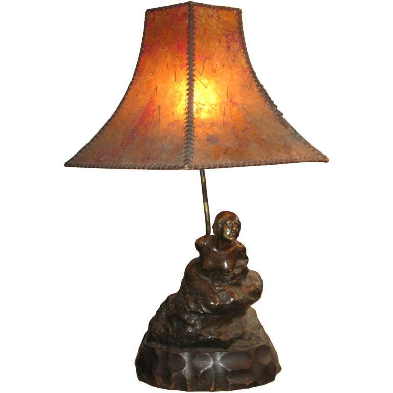 Bronze and Mica Shade Lamp