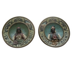 Pair of 19th Century Terracotta Plates by Musterschutz