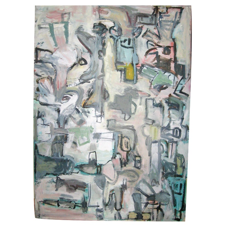 """50"""" Abstract Gun Oil Painting by Russell Christoffersen"""
