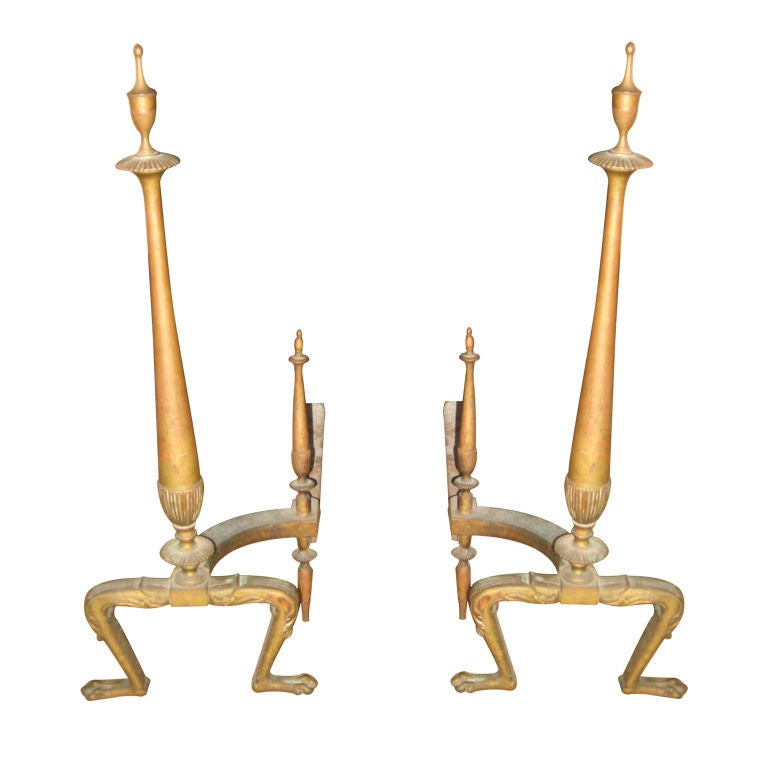 Pair of Neoclassical Style Brass Andirons For Sale