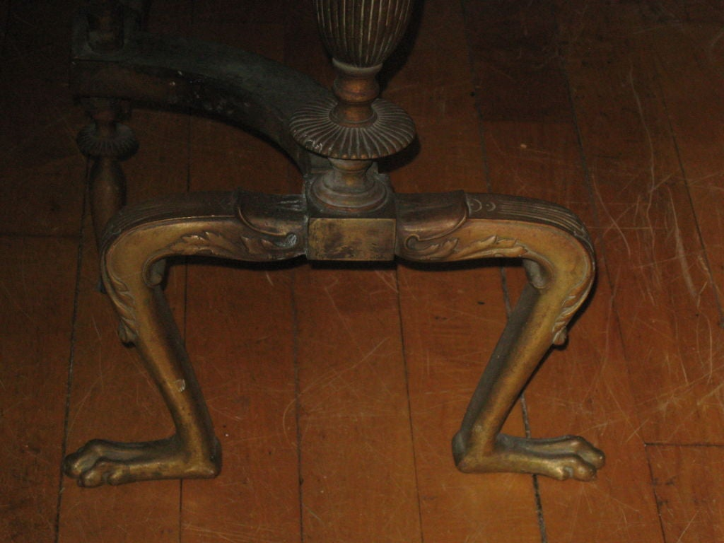 Pair of Neoclassical Style Brass Andirons In Good Condition For Sale In Water Mill, NY