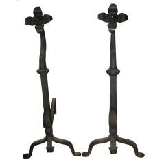 Pair of Sunflower Hand-Forged Iron Andirons