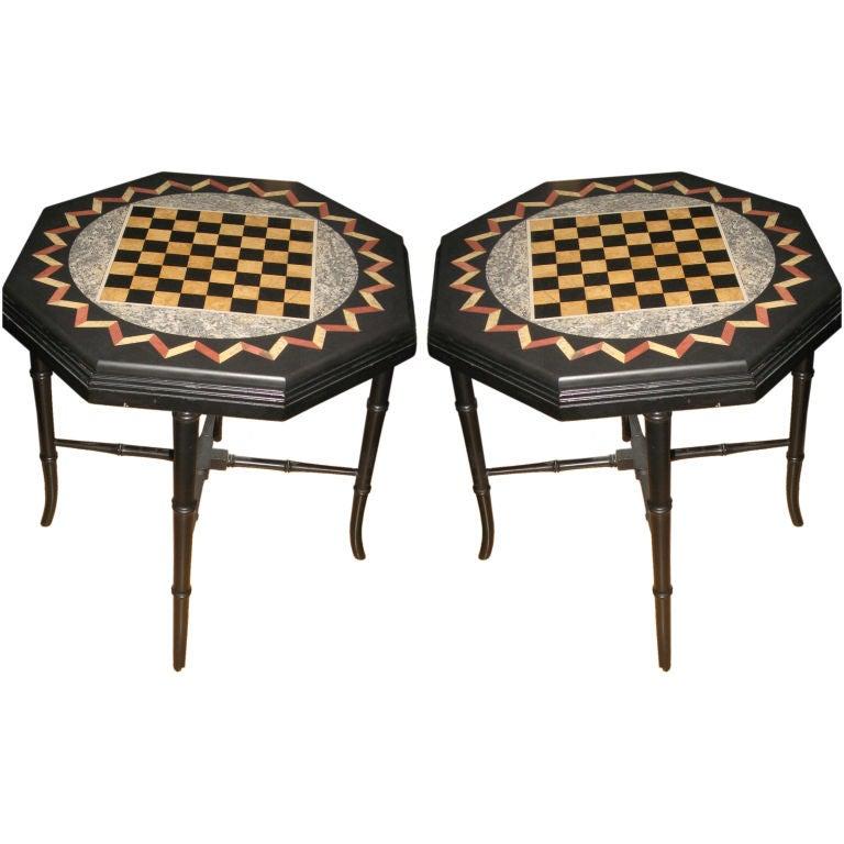 Pair of Pietra Dura Game Tables