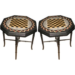 Pair of Pietra Dura Game Tables