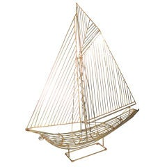 Curtis Cere Brass Sail Boat Sculpture