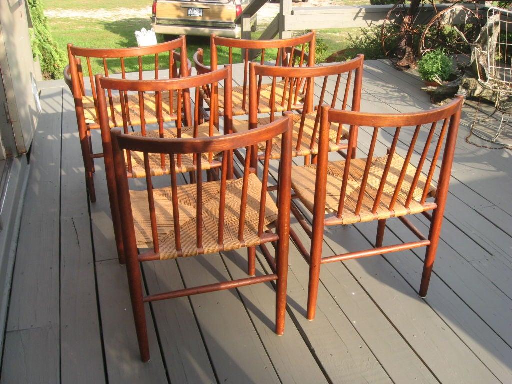 Rush Midcentury Danish Modern Teak Dining Chairs by J. Baekmark