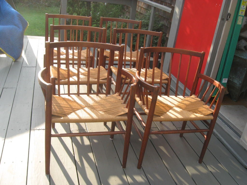 Midcentury Danish Modern Teak Dining Chairs by J. Baekmark 1