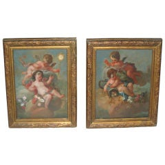 18th Century Pair of Putti Oil Paintings on Wood