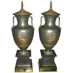 Pair of Neoclassical Bronze Lamps
