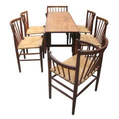 Jorgen Baekmark Mid-Century Danish Modern Six Teak Dining Chairs