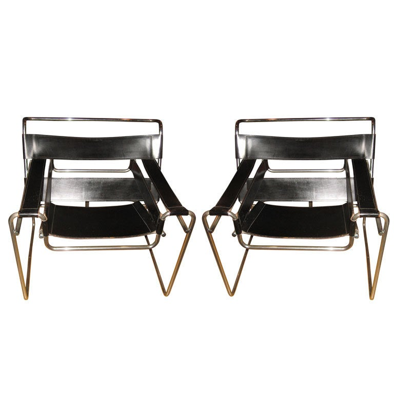 Pr Of Vintage Marcel Breuer Wassily Chairs At 1stdibs