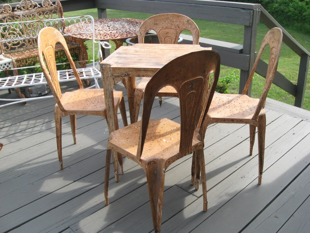 Tin Midcentury Metal Game Table and Chairs For Sale