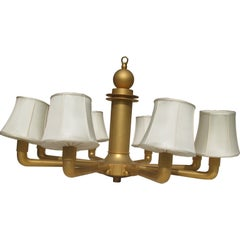 Monumental Gilded Bronze Chandelier in the Style of Ruhlmann
