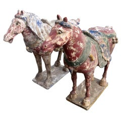 Pair of Early Wood Chinese Horses