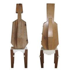 Pair of Antique Cello Cases on Modern Stands