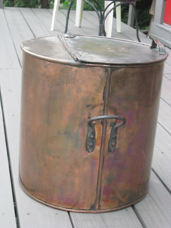 Early Copper Lobster Pot Table Log Holder For Sale At 1stdibs