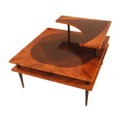 Vintage 1960s Three Tier Side Table with Marquetry Detail