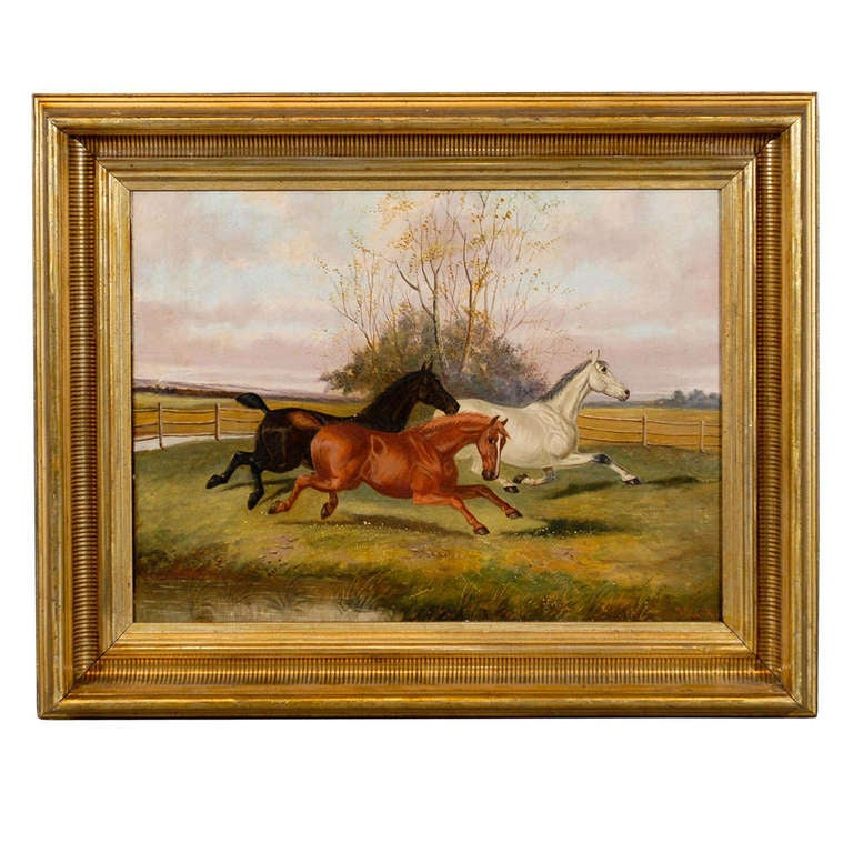 Large Gilt Framed Oil on Canvas Painting of Horses in Landscape ...
